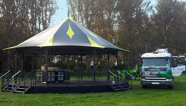 bandstand with lorry
